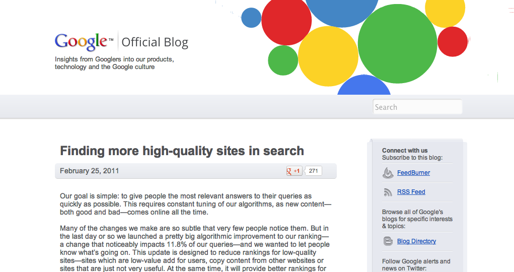 Finding more high-quality sites in search