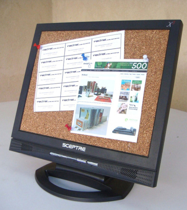Pop off the front of the monitor to make a cork board.